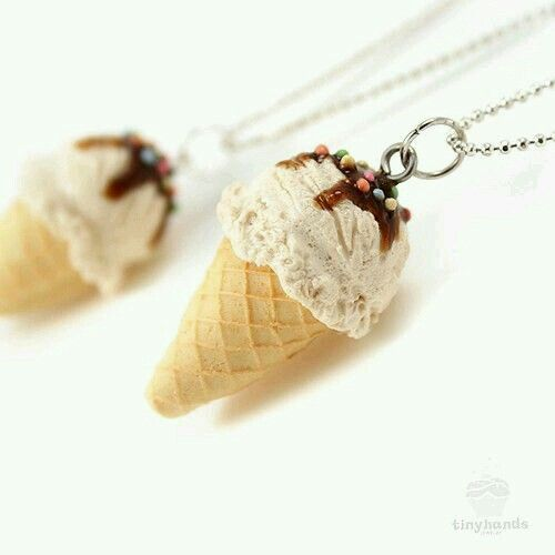 Scented Vanilla Ice Cream Necklace. Made to order of polymer clay by Mei Pak (tinyhands etsy).