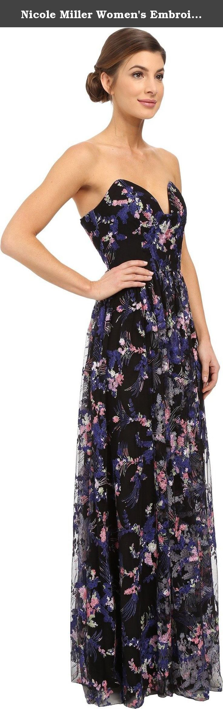 Nicole Miller Women's Embroidered Flowers Strapless Plunge Gown Black/Multi Dress. Nicole Miller Size Chart Lightweight, strapless gown flaunts a full skirt and allover floral embroidered design. Fitted bodice with princess seams, flexible boning, and silicone taping for added support. Plunging V-neckline. Full mesh skirt. Floor-sweeping hemline. Back hook and zipper closure. Fully lined. 100% polyester;Lining: 100% polyester. Hand wash cold. Made in the U.S.A. and Imported. Measurements:...