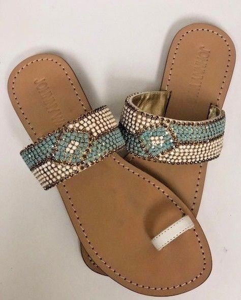 07d3d986 Johnny Was Beaded Women's Bling Sandals Shoes New Boho Chic | eBay ...