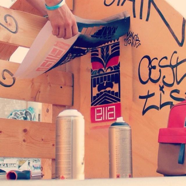 Stancil on half pipe. Artist: #ella