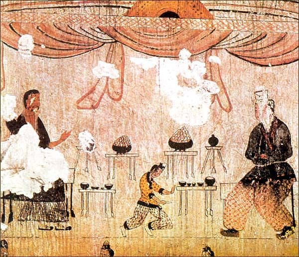 Goguryeo Tomb Murals - Dining Scene (detail), Muyong Tomb, 5th century A.D. Ji'an city, Jilin province, China