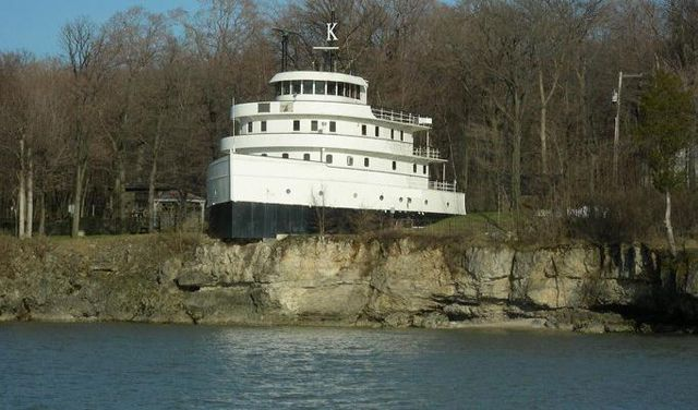 South Bass Island in Lake Erie. Built in 1936 by Henry Ford as a pleasure cruiser, the ship known as the Benson Ford was scheduled to be scrapped in the mid 80's. An inventive couple took one look at the elegant state rooms and passenger lounge and decided to transform it into a home.