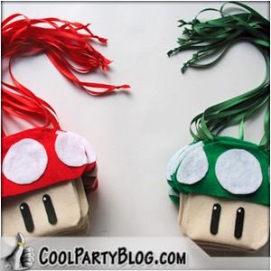 Create Mushroom Pouches for Mario Party Favors
