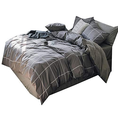 Amwan Cotton Grey Plaid Duvet Cover Set King Modern Soft