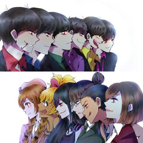 Osomatsu-san Characters:Osomatsu/Karamatsu/Choromatsu/Ichimatsu/Juushimatsu/Todomatsu/Osoko/Karako/Choroko/Juushiko/Todoko