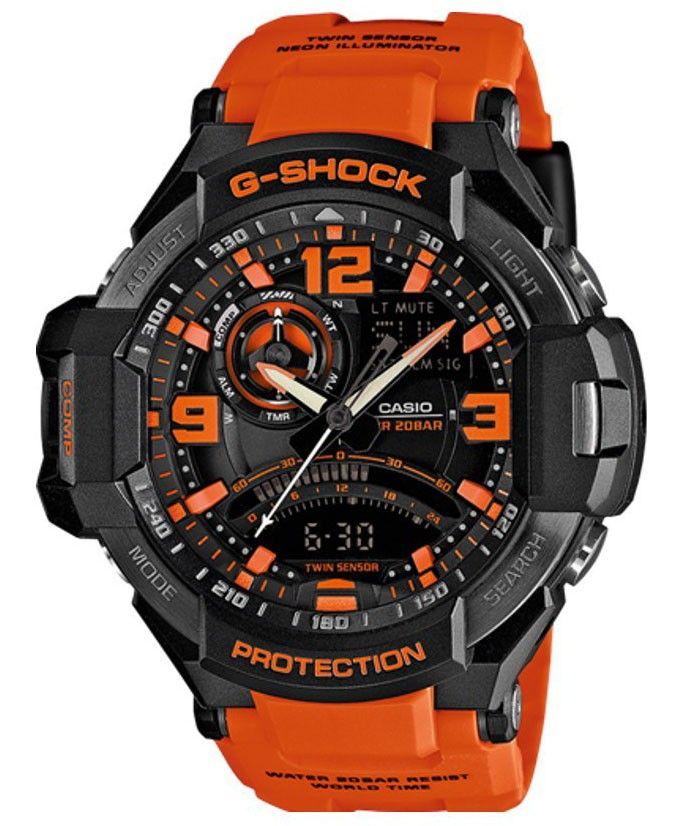 Geweldig vormgegeven CASIO G-SHOCK GRAVITY MASTER horloge, GA-1000-4AER. Stoer en sportief model met zwarte kast en zwarte wijzerplaat met oranje accenten, analoge-digitale tijdsaanduiding, dag-en datumaanduiding en alarm- en wereldtijd functie. De band is oranje en heeft een gespsluiting. Een prachtig mooi horloge met een Neon-Illuminator.
