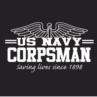 Navy Corpsman black short sleeve t shirt with red cross