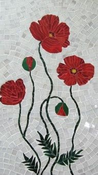 Mosaic panel POPPIES handmade by andreamosaic on Etsy