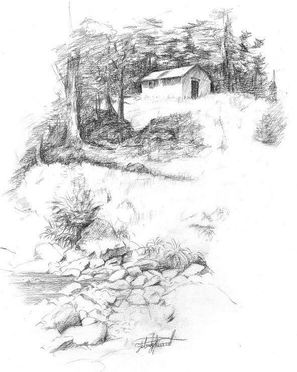 Rock's Ahead Hut, Kaweka Ranges, NZ. Drawn en plein air by Felicity Deverell. The Art of a Hut Collection