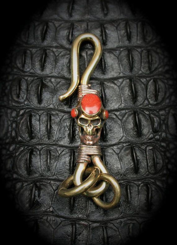 Skull Brass Hook Key Chain/Key Holder Spooky Steampuck by Mygoth (GBK007-1)