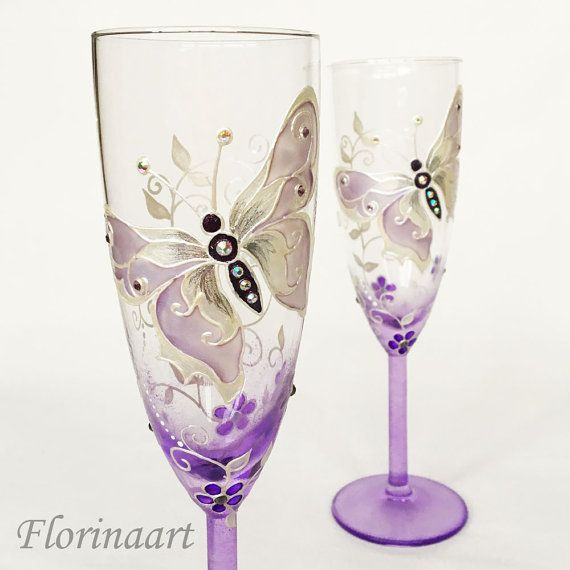 Purple Wedding Glasses, Purple Wine Glasses, Purple Butterfly Glasses, Purple Wedding Set, Butterfly Glasses  READY TO SHIP!!!  A set of two elegant champagne toasting glasses, which can be used for your wedding day, sophisticated present, anniversaries and any other occasions . Each of them can be personalized on the base with your names and wedding date for free!  READY TO SHIP!!!  DETAILS  Height: 22cm / 9  Volume: 21cl /7 oz  Color: Purple, Silver, purl,  Materials: Glass Paints...