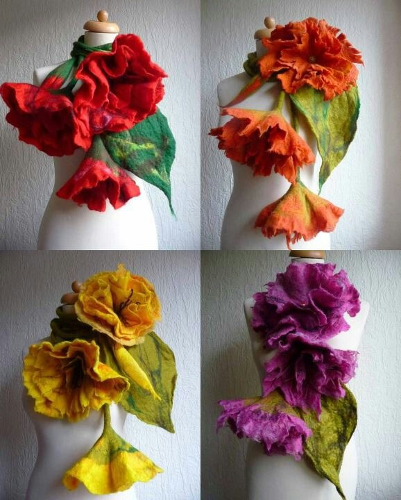 felted flower scarf