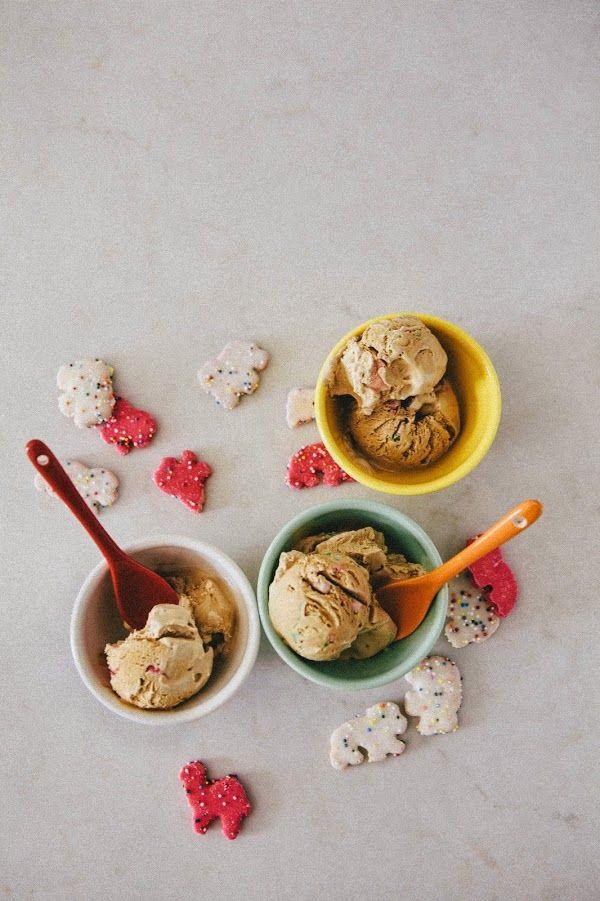 No-Churn Coffee Ice Cream with Circus Animal Cookie Crumbs