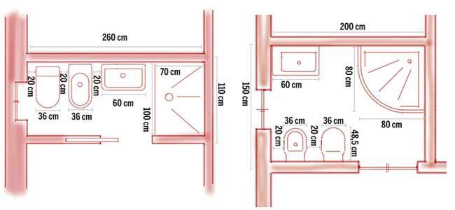 Risultati immagini per bagno di servizio misure minime | progetti ...