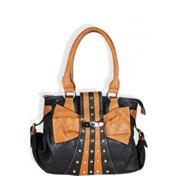 Tan Bow Fashion Shoulder Purse Black - Wholesale Handbag Shop