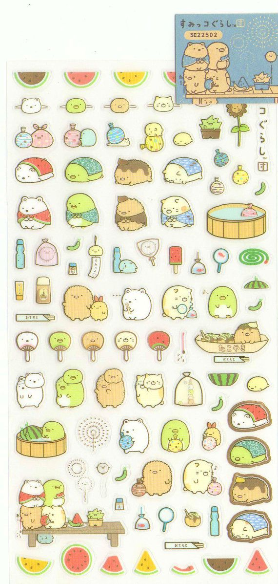 Kawaii Japan Sticker Sheet Assort: Sumikko Gurashi Character Summer 1