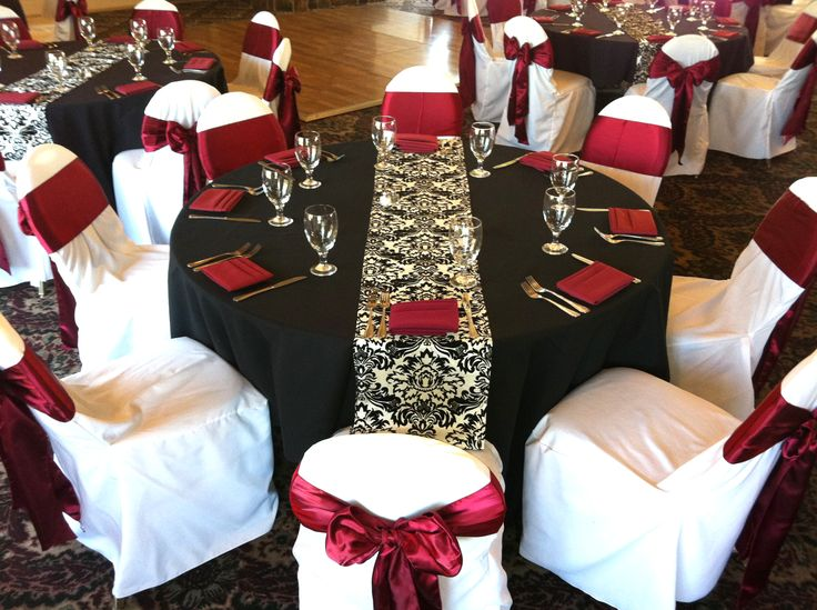 Black, Burgundy And Ivory Color Schemes | Black Table Cloths With Burgundy  Napkins, Water