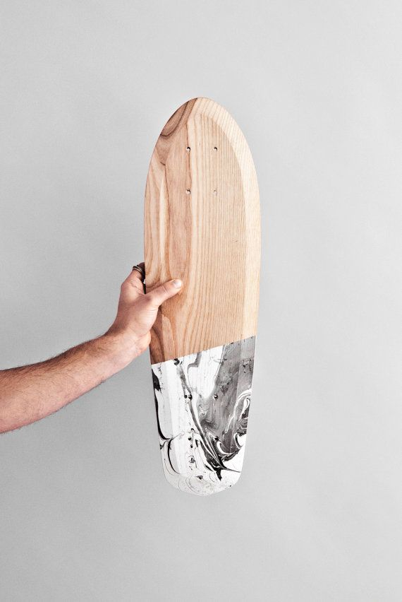 Wooden skateboard marbel Cruiser Rollholz by relicts on Etsy