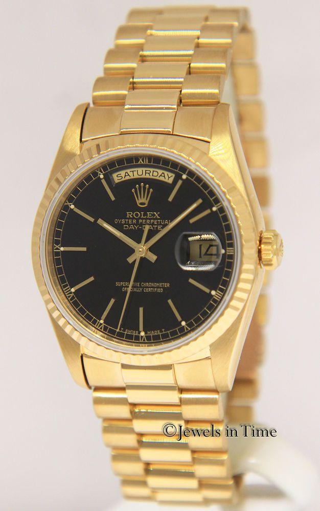 fe28183fcaca Rolex Day-Date President 18k Yellow Gold Black Dial Mens Automatic Watch  18238  rolex  menswatches  watchesformen
