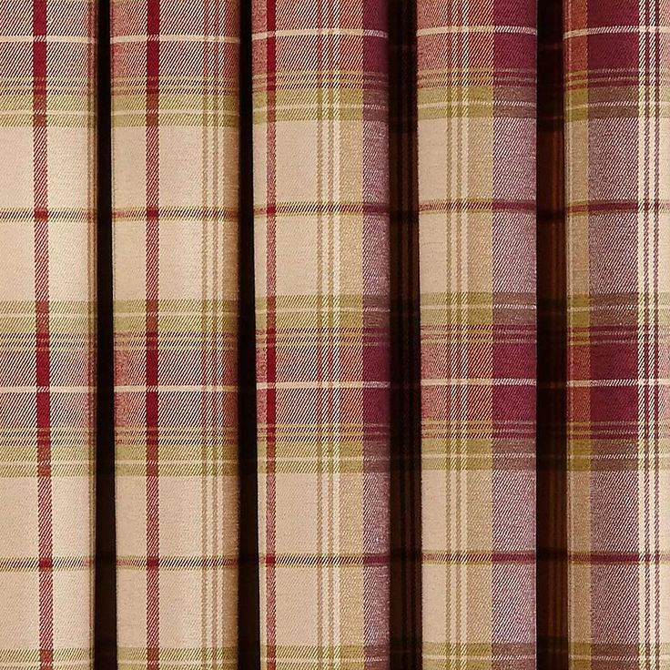 Dorma Plum Bloomsbury Check Lined Eyelet Curtains | Dunelm