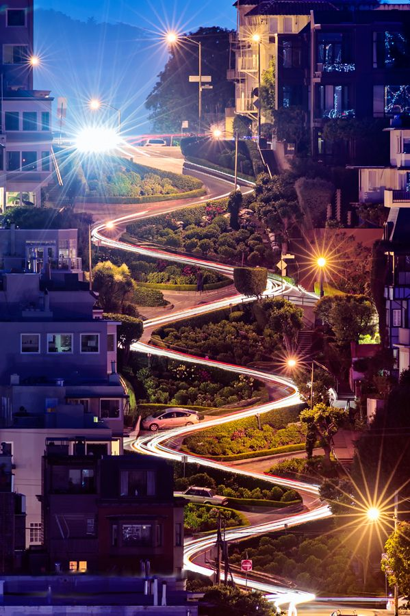 """Lombard Street is best known for the one-way section on Russian Hill between Hyde and Leavenworth Streets, in which the roadway has eight sharp turns (or switchbacks) that have earned the street the distinction of being the crookedest (most winding) street in the world (though this title is contested – see """"See Also"""" links)."""