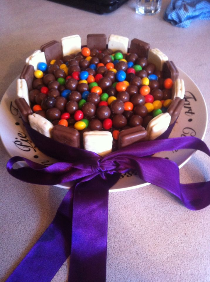 Made this one for my lovely twins 20th birthday .Basic choc cake. berry and dark choc icing. Tim tams. Mnm's and malteasers .
