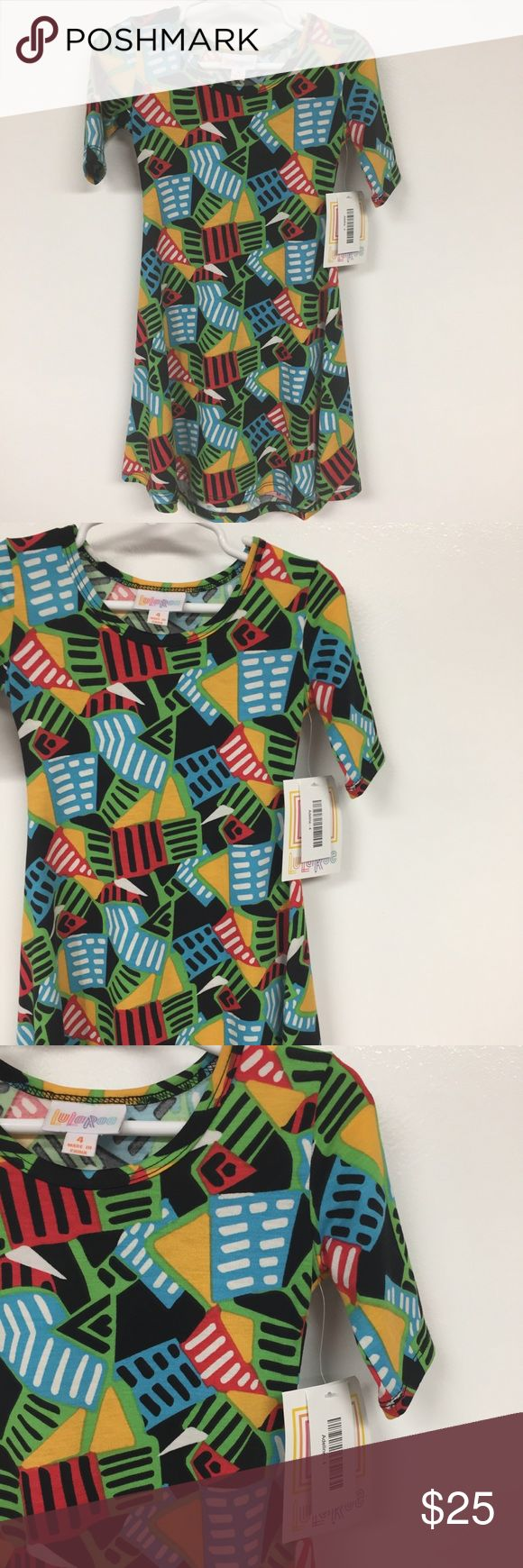 NWT LuLaRoe Kids Adeline Dress SZ 4 Bright Colors Black, blue, green, magenta, and yellow- lots of beautiful bright colors in this Adeline! The Adeline has a fitted bodice and a full skirt. Pair it with leggings to wear in fall in spring. Fits size 3-4. LuLaRoe Dresses Casual