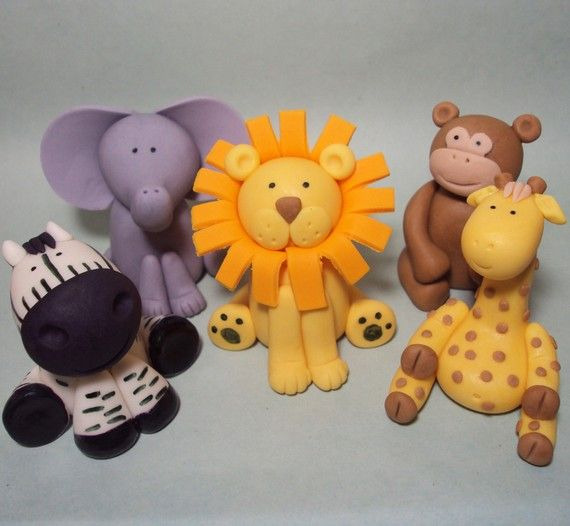 Safari Animals Set of 5 Cupcake or Cake Toppers by LCcakes on Etsy, $20.00