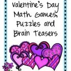Valentine's Day Math Games, Puzzles and Brain Teasers from Games 4 Learning. It is loaded with Valentine's Day math fun. It includes printable Va...
