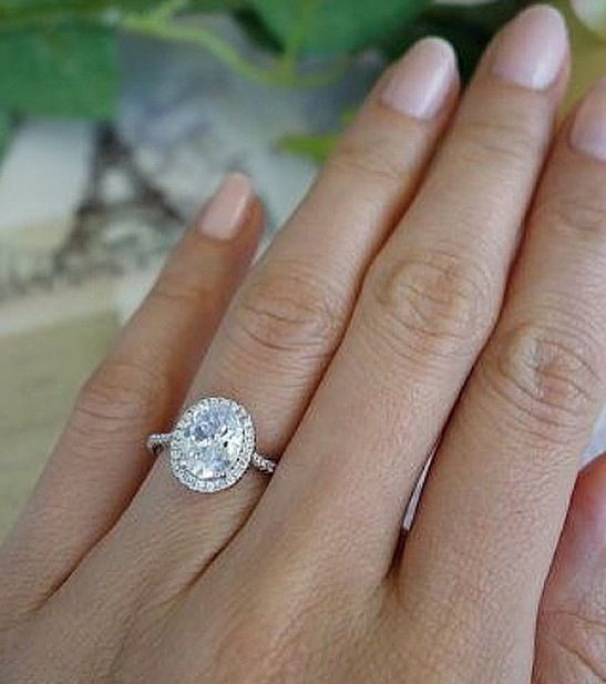 2.25 ctw, Classic Oval Halo Ring, Engagement Ring, Man Made Diamond Simulants, Wedding Ring, Bridal Ring, Promise Ring, Sterling Silver