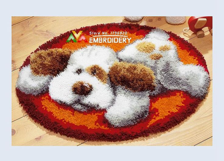 Find More Cushion Information about Latch Hook Rug Kits DIY Needlework Unfinished Crocheting Rug Yarn Cushion Mat White Dog at Rest 3D Embroidery Decorative Carpet ,High Quality Cushion from DIY embroidery store on Aliexpress.com