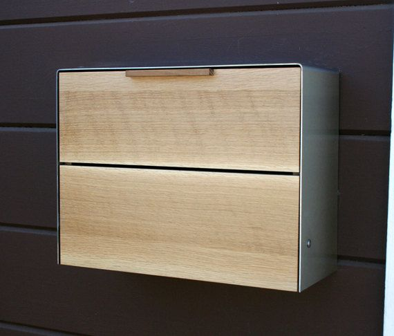 Modern Mailbox Large, White Oak and Stainless Steel Mailbox, Wall Mounted mailbox