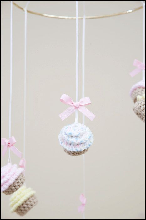cupcake baby mobile, crochet baby mobile, cupcake nursery decor on Etsy, $45.00
