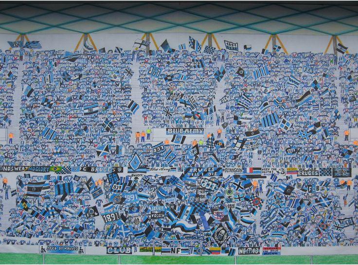 TOTAAL BEELD De Brugse kop.   Blue Army,North Fanatics in het nieuwe stadion Club Brugge aan de blankenbergse steenweg. Getekend met blauwe balpen, zwarte stift en blauwe kleurpotlood.