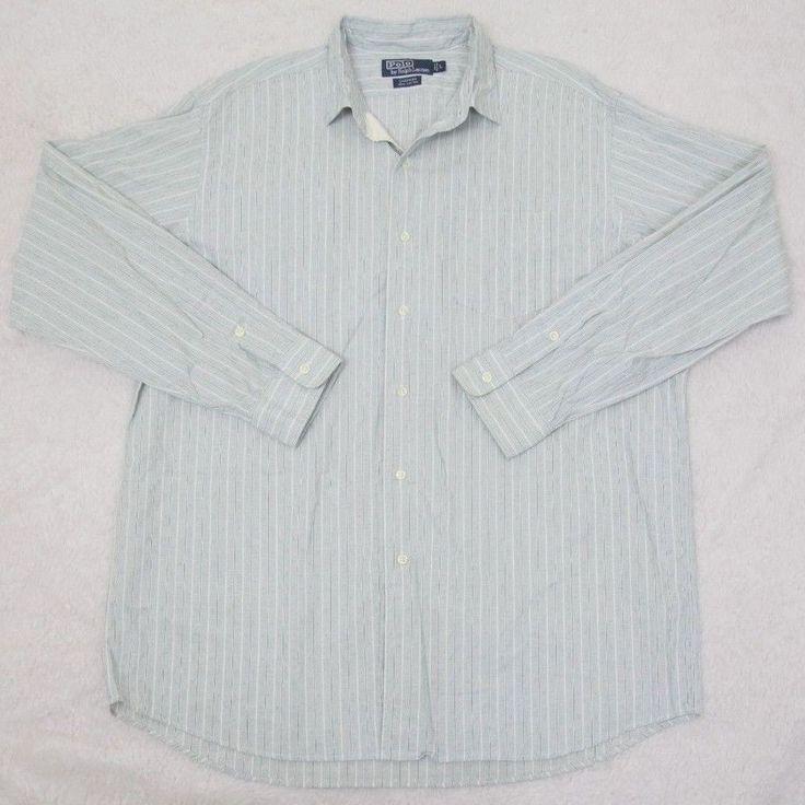 Ralph Lauren Polo Dress Shirt Green White Large Cotton Striped Mens Man Pocket #RalphLauren #dressshirt