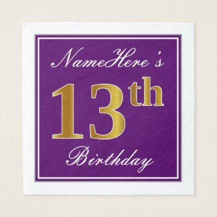 Elegant Purple Faux Gold 13th Birthday  Name Napkin - diy cyo customize create your own #personalize