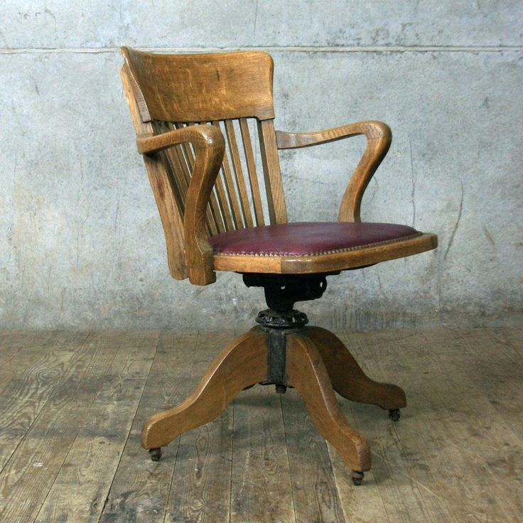 Antique Swivel Solid Oak Desk Chair With Arm
