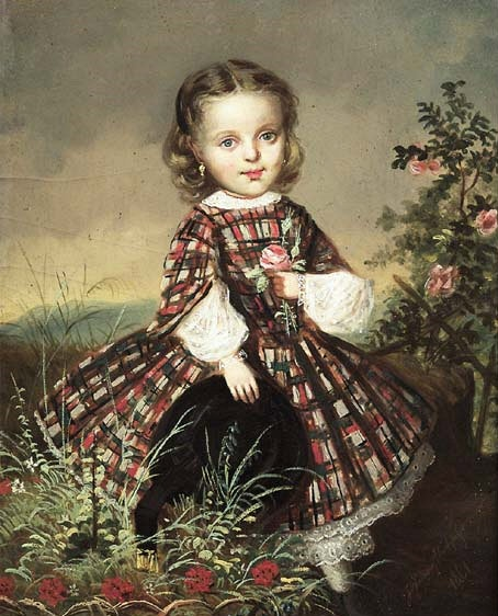 Painting of girl in Scottish tartan.