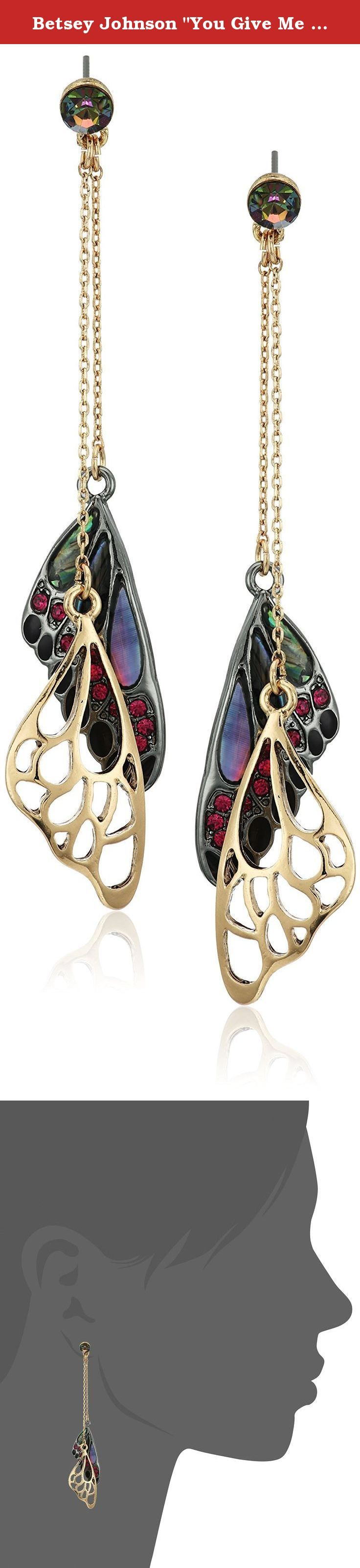 "Betsey Johnson ""You Give Me Butterflies"" Mixed Stone Butterfly Wing Linear Drop Earring. Items that are handmade may vary in size, shape and color. Made in China. gold tone linear chains with mixed stone butterfly wing and gold tone cut-out butterfly wing drops. Imported."
