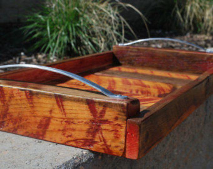 Reclamado de otomana bandeja, servicio de bandeja, bandeja de madera, bandeja Rectangular de madera, bandeja de madera, bandeja de la porción rústica
