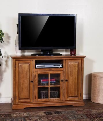 "3474RB-48 48"" TV Console with Center Speaker Open Space Glass Door and Adjustable Shelves in Rustic Birch Finish"