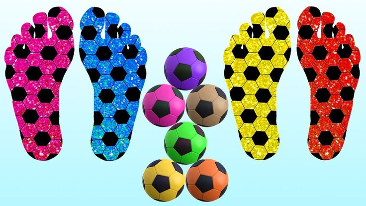Learn Colors with Foot Painting Soccer Balls Xylophone Hammer Toys for C...