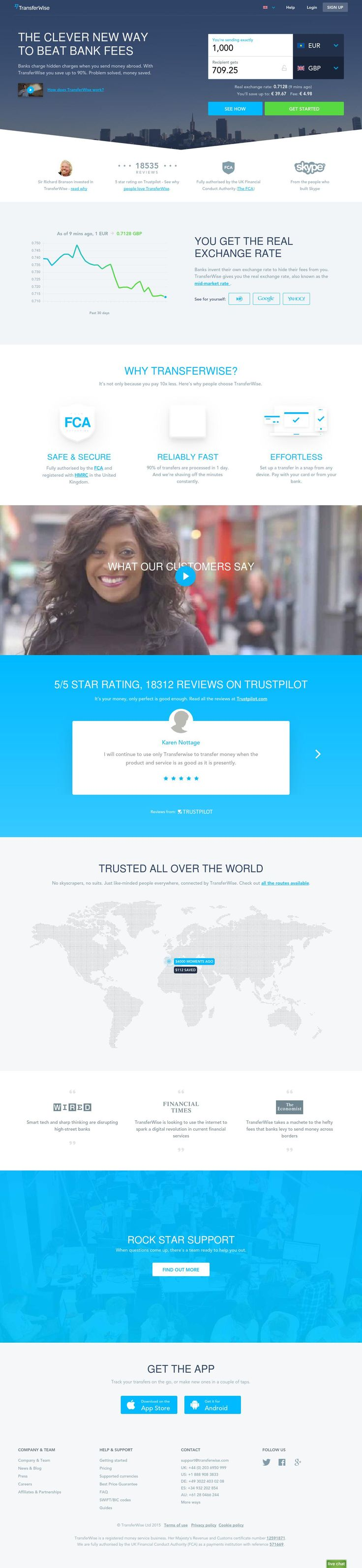 TransferWise Review Web design, Transfer website