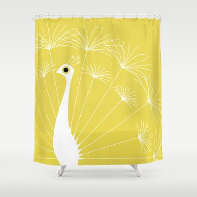 yellow dandelion peacock and peacock feather shower curtain