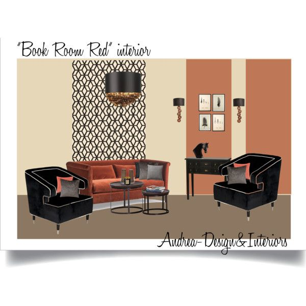 Book Room Red interior by andrea-szakos on Polyvore featuring interior, interiors, interior design, home, home decor, interior decorating, Pinch, Worlds Away, MANGO and Heathfield & Co.