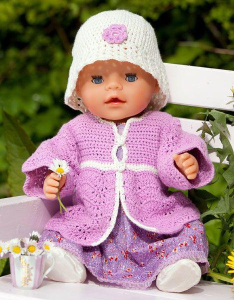 Hæklet jakke og hat til Baby Born - Hendes Verden