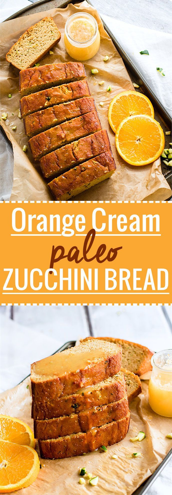Zesty Orange Cream Paleo Zucchini Bread! A classic zucchini bread recipe made healthy, paleo, and packed with vitamin C! This paleo zucchini bread is an easy to make and super refreshing with a ginger glaze to drizzle on top.  /cottercrunch/