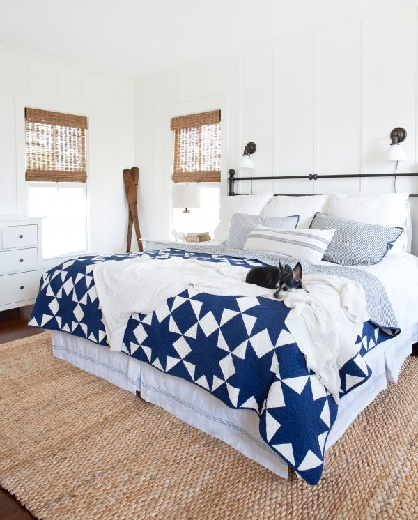 Blue and white bedroom. Master Bedroom Update: My Favorite Woven Window Shades | The Lettered Cottage