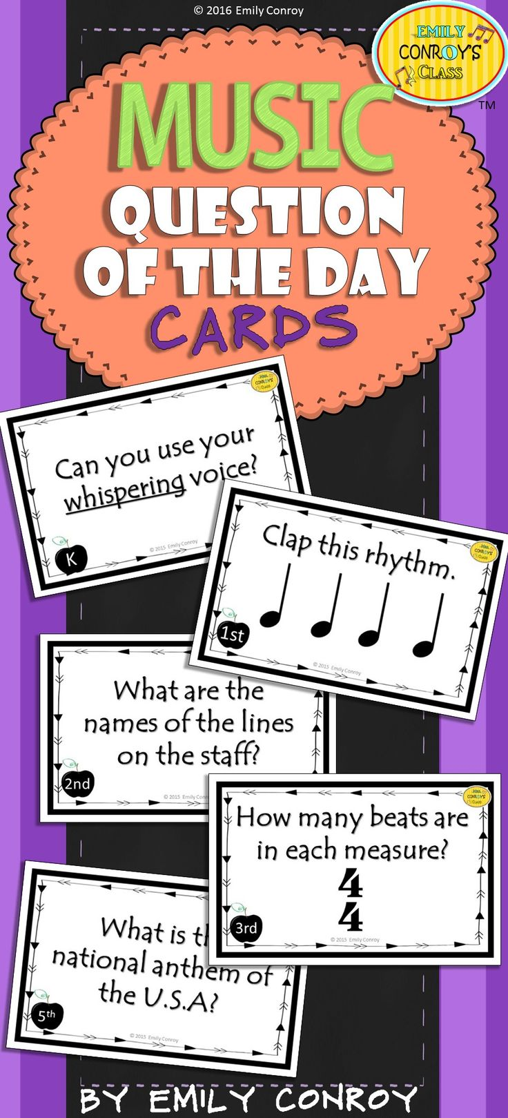 Music Question of the Day Cards contains 85 cards to aid students in entering the music room quietly and to review concepts taught in the previous class period. Simply display a card as students enter the classroom and read it to students or have them read the card silently. Call on a student to answer the question displayed on the card (but only call on students who entered the room quietly!). If the student answers correctly, give him or her something special during class!