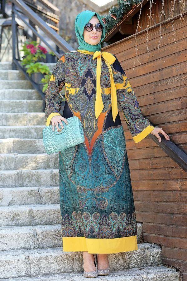 Nesrin Emniyetli Pano Desen Elbise